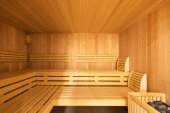 Fotografie Fornal pohled sauna s oblázky