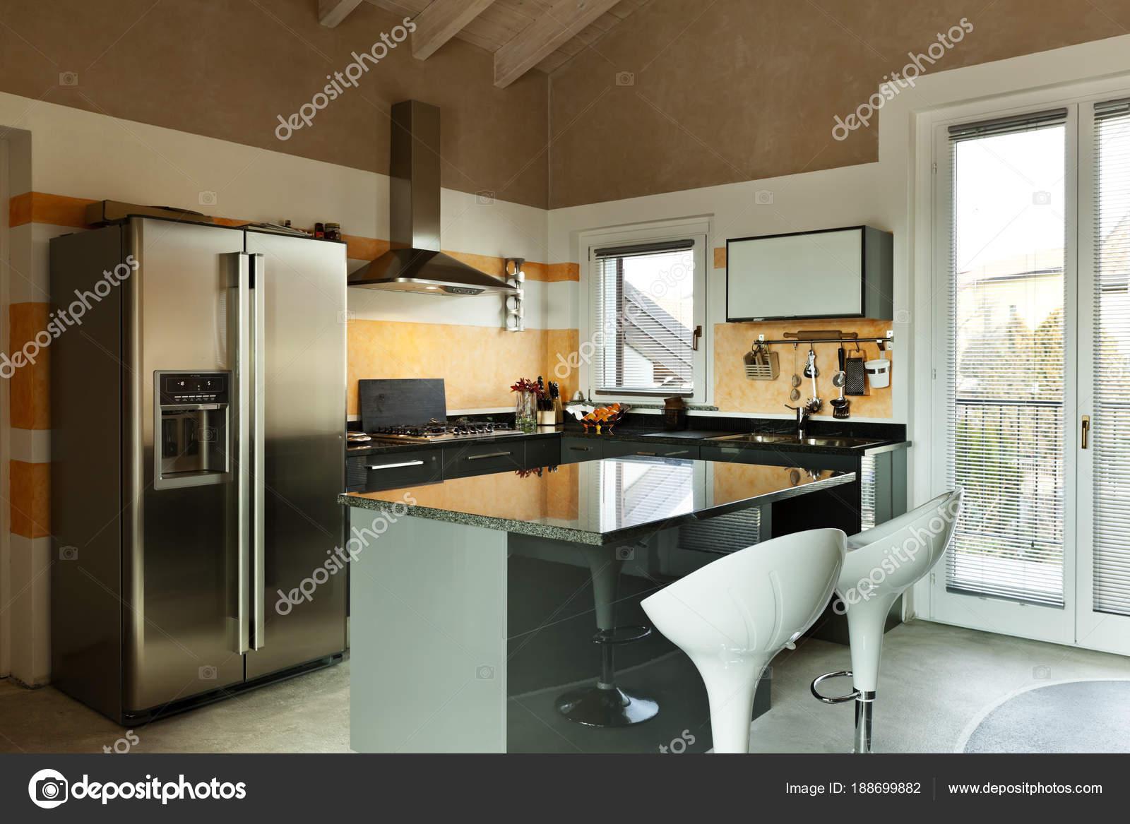 Loft Interior Nova Decorado Ilha De Cozinha Com Duas Cadeiras