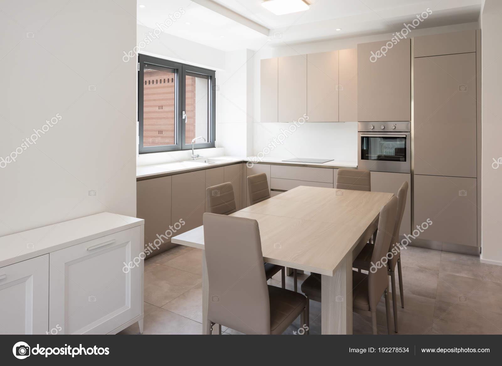 Minimale keuken in een modern appartement u stockfoto zveiger