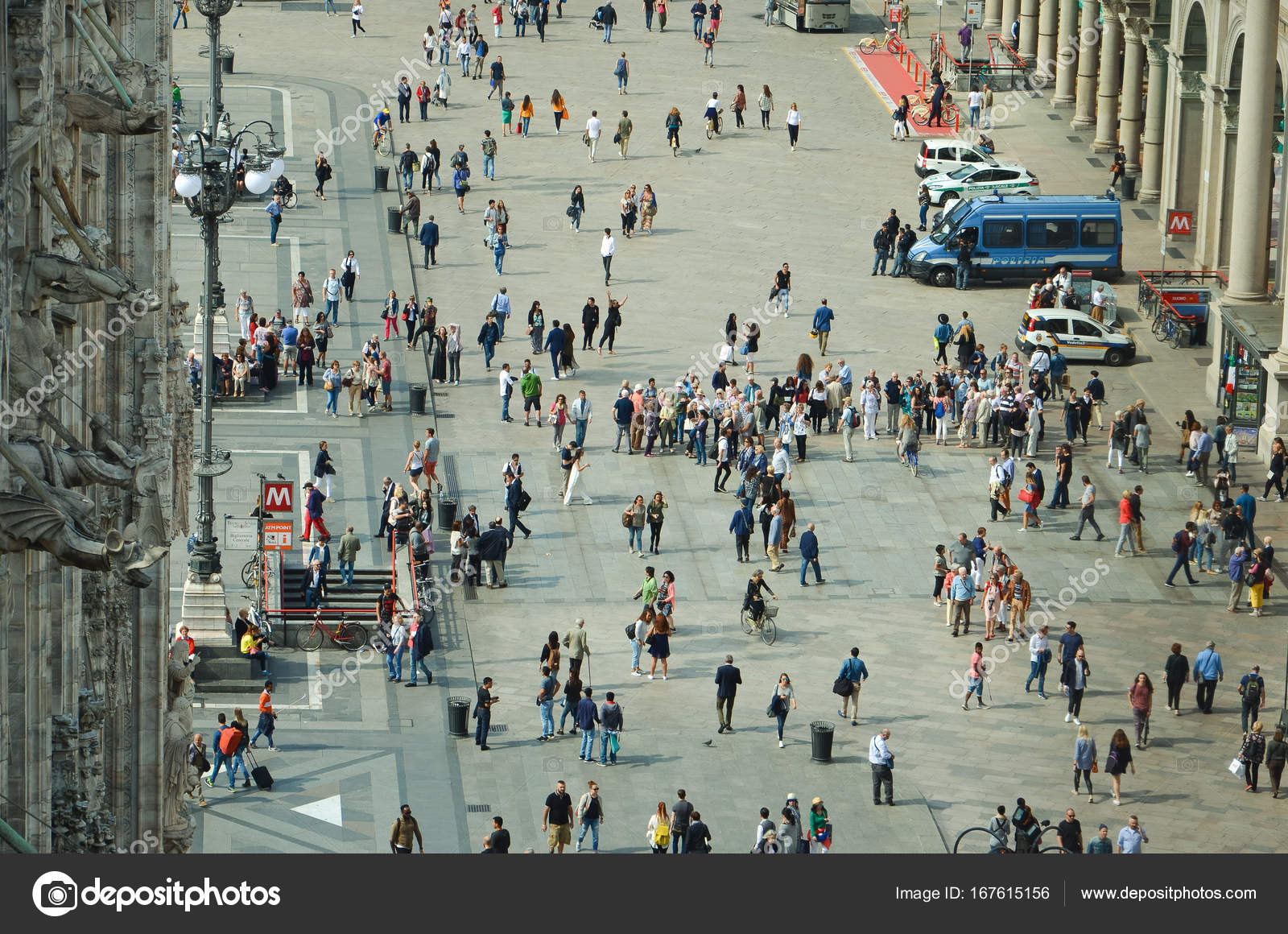 People Near Milan Cathedral Aerial View Stock Photo