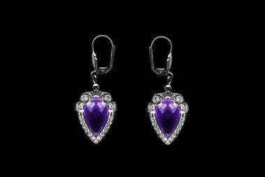 Amethyst earrings isolated