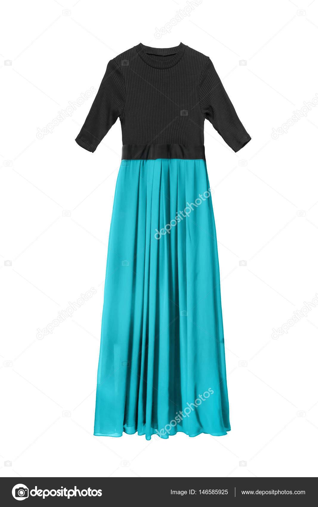 ba9cfa5d89d3cc Combinatie van zwart en cyaan maxi jurk met chiffon rok op witte achtergrond  — Foto van Tarzhanova