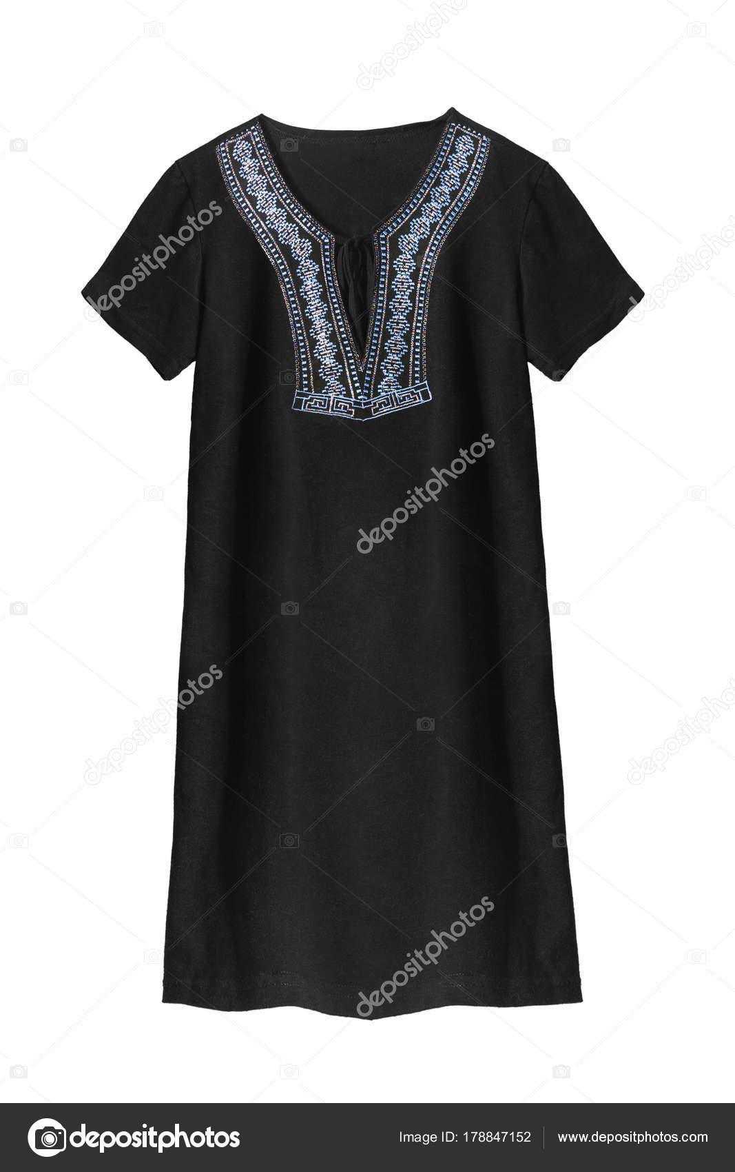 ffe0429266 Vestido mini básico negro con bordado azul sobre fondo blanco — Foto de ...