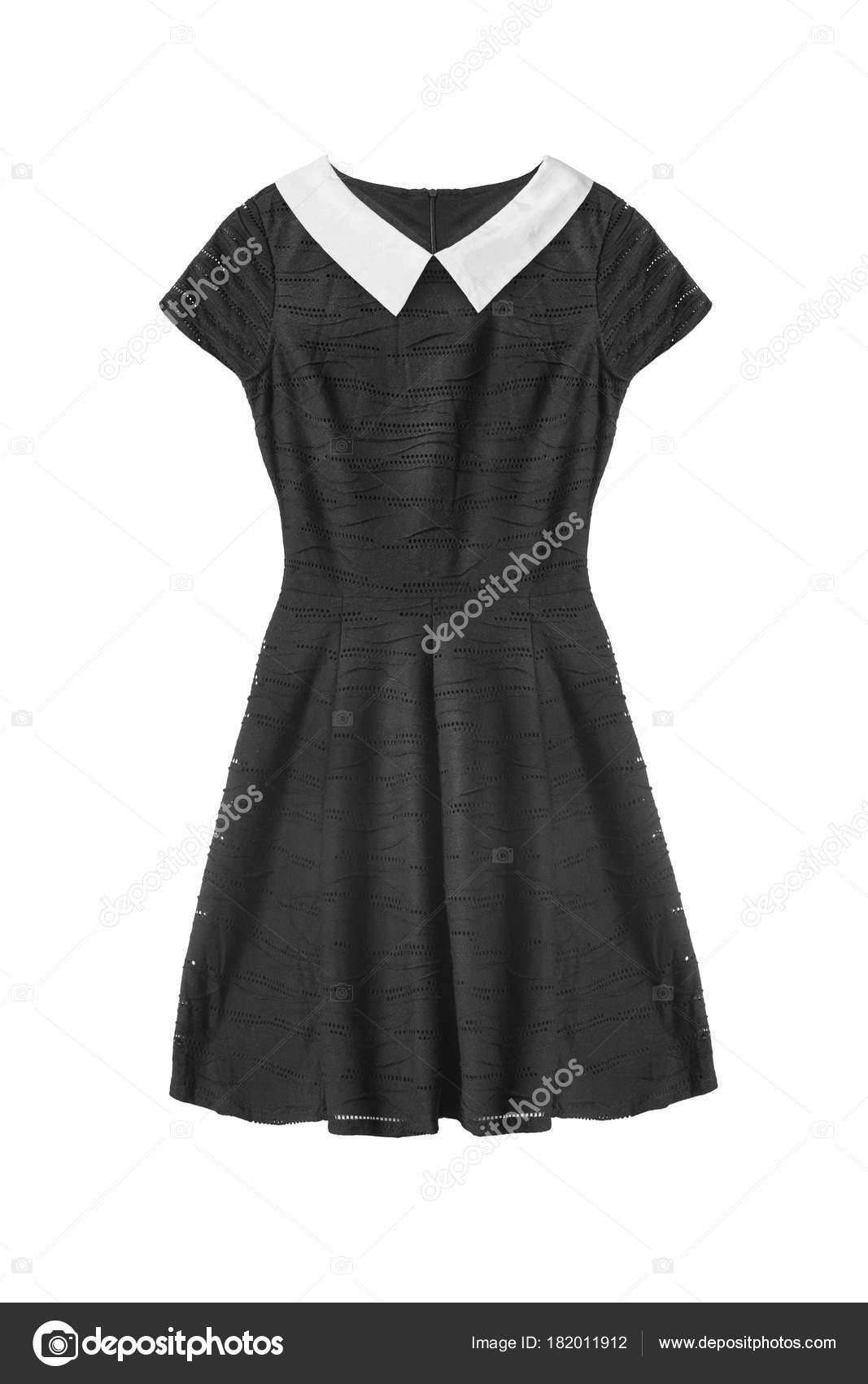 f4af16aeeb Elegante vestido negro básico con cuello de algodón blanco aislado sobre  blanco — Foto de ...