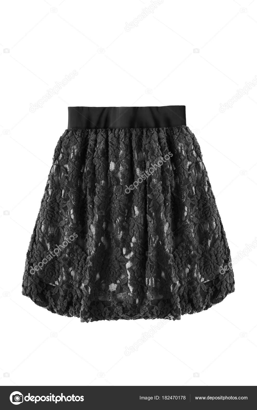 b3c5510dd626ac Zwart kanten laaide mini rok op witte achtergrond — Foto van ...