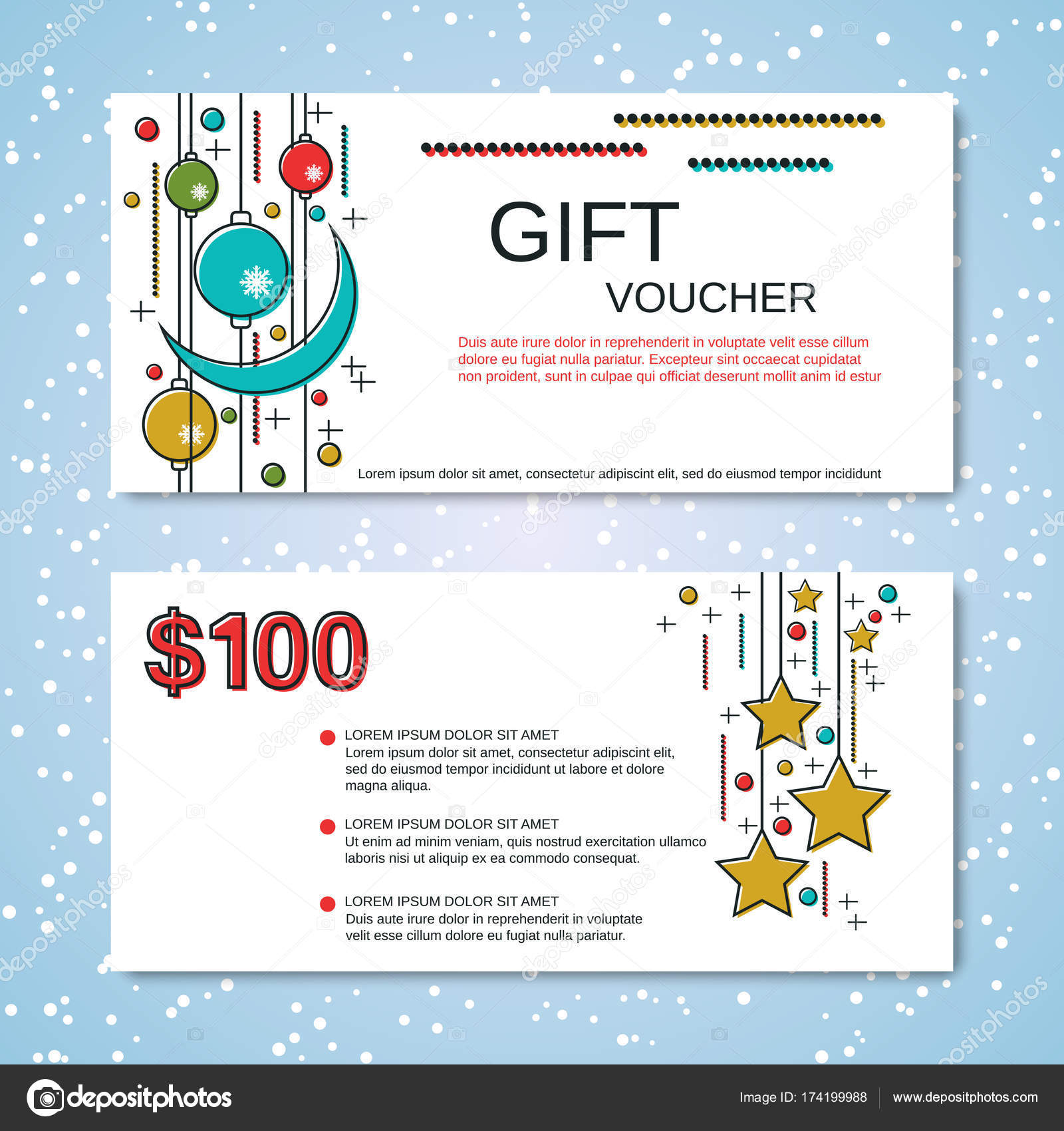 christmas and new year discount coupon vector template stock