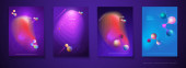 Vektorová sada abstraktního pozadí, kompoziční abstrakce barev, holografická a přechodová barva pro pozadí. Šablona rozložení pro nápis, plakát, tapetu, leták, brožura