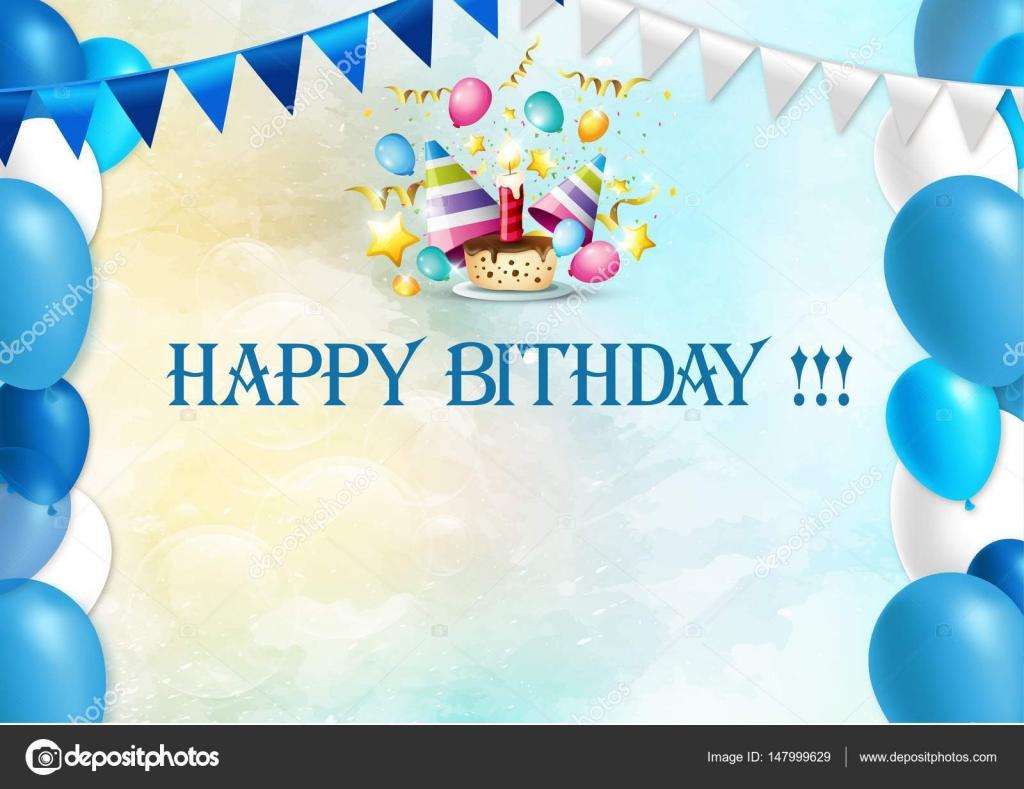 Gelukkige Verjaardag Blauw Stockvector C Went222000 147999629
