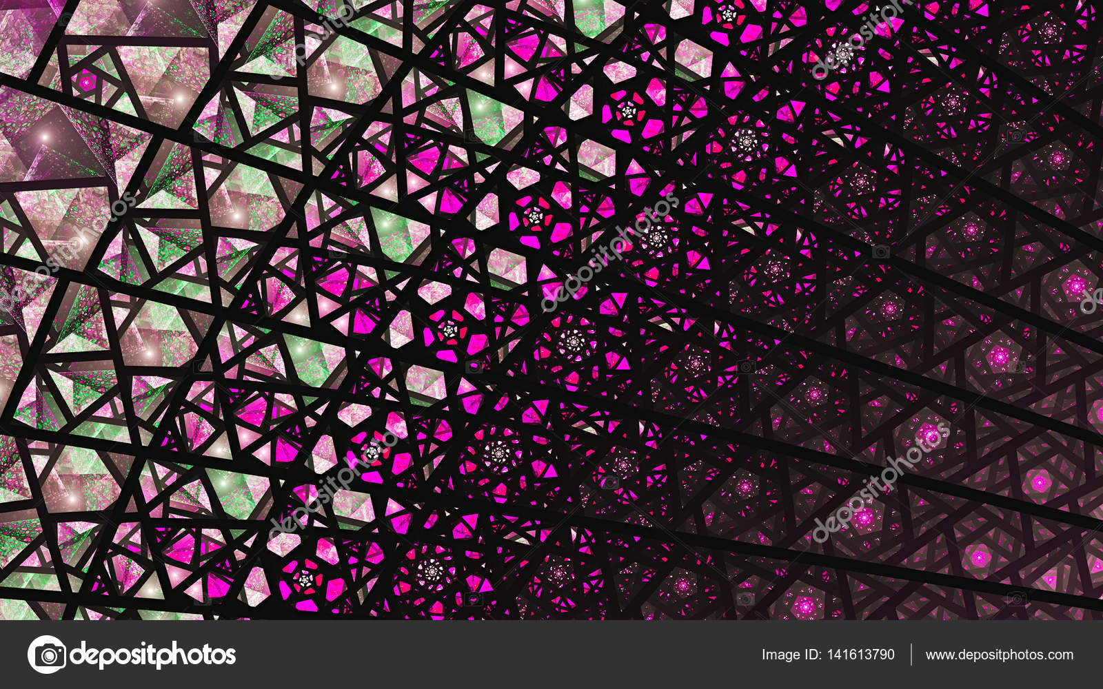 Stained Glass Windows Colored Shards Fragments 3D Surreal Illustration Sacred Geometry Mysterious Psychedelic Relaxation Pattern