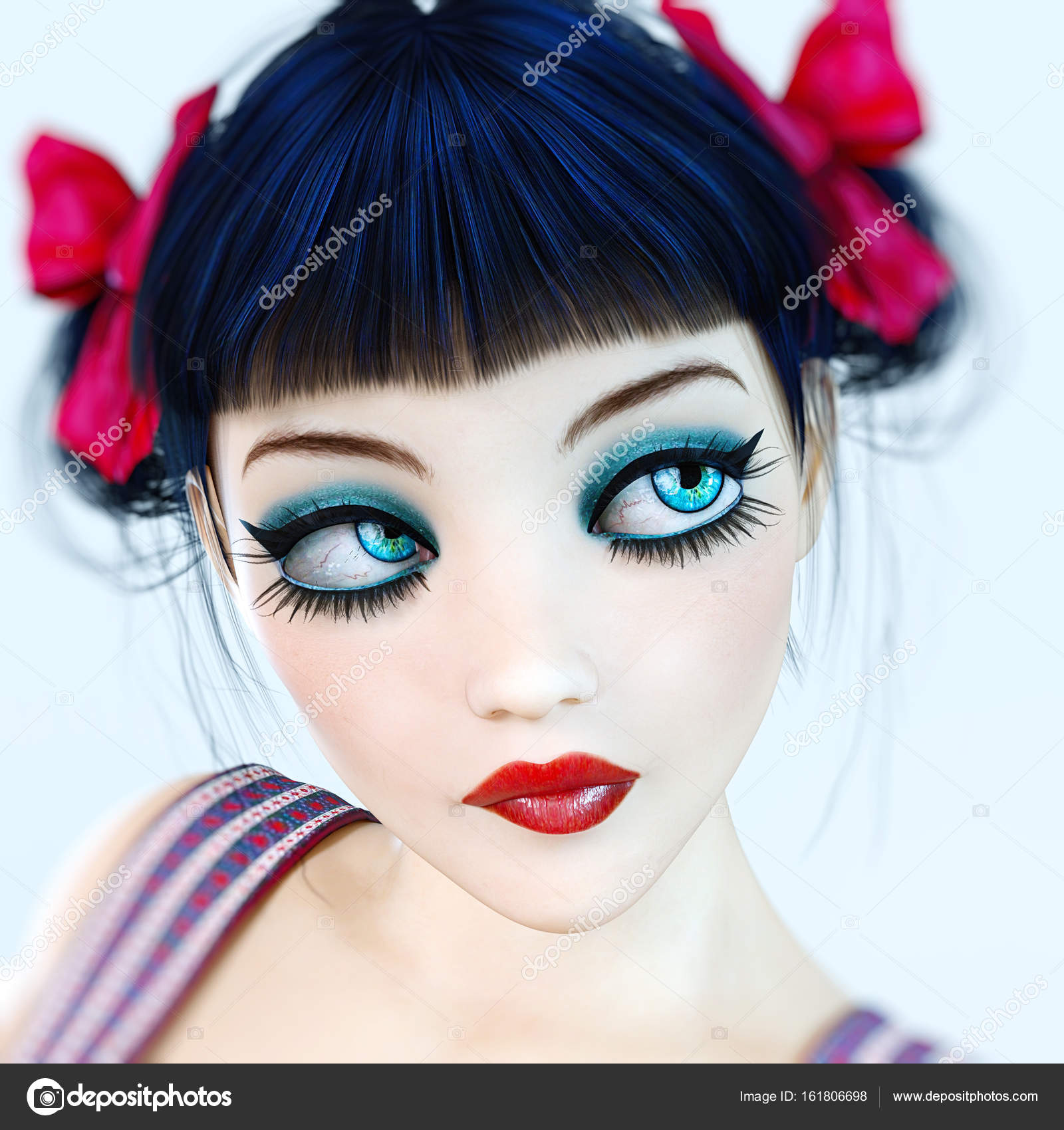 57a5c259112 Portrait 3D girl doll big blue eyes and bright makeup. — Stock Photo ...