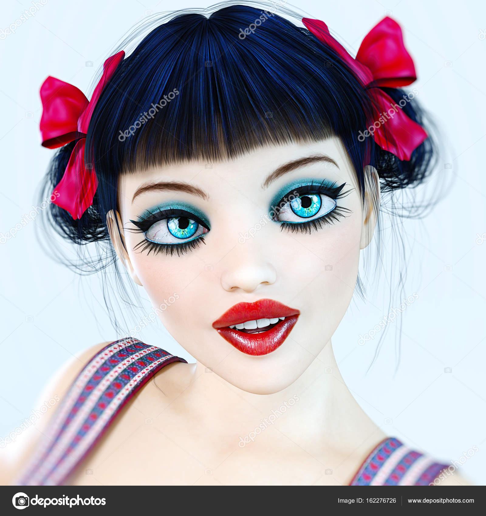Portrait Girl Doll Big Blue Eyes And