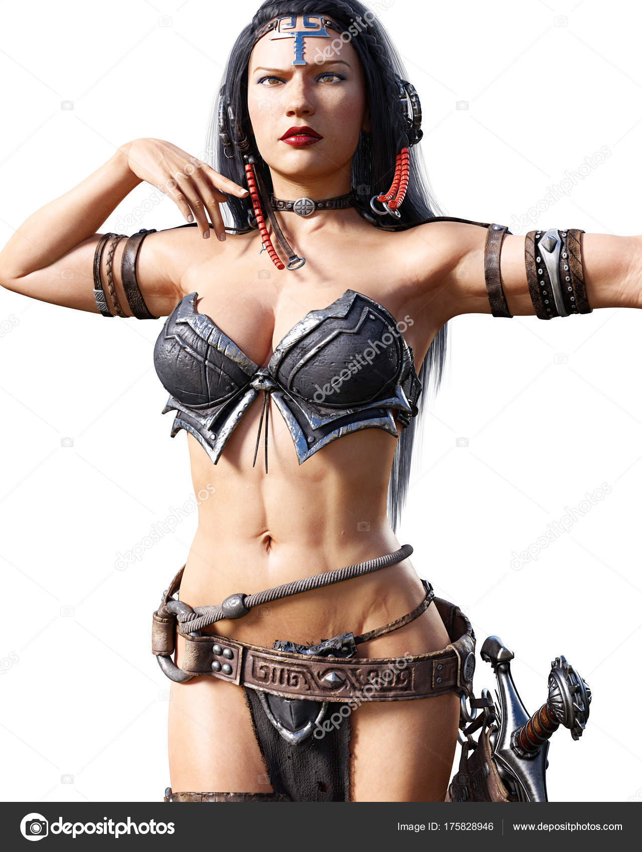 Warrior amazon woman with sword. Long dark hair. Muscular athletic body. Girl  standing candid provocative aggressive pose. Conceptual fashion art. 06df0905a