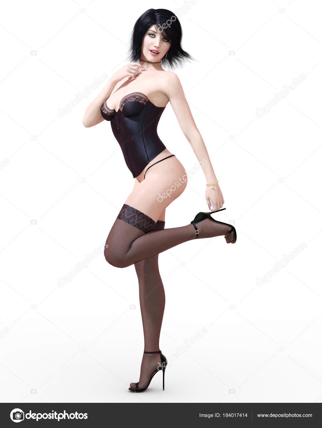 4024d4149 Beautiful Brunette Girl Lingerie Corset Stockings Black Clothes ...