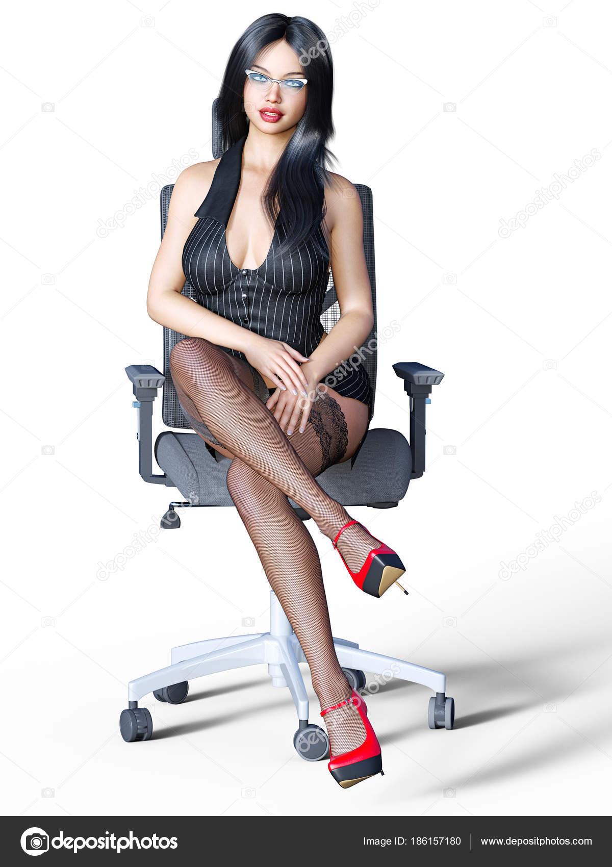 Γυναίκα με πολύ σέξι πόδια σε μαύρες κάλτσες στον καναπέ, σε ψηλά τακούνια.