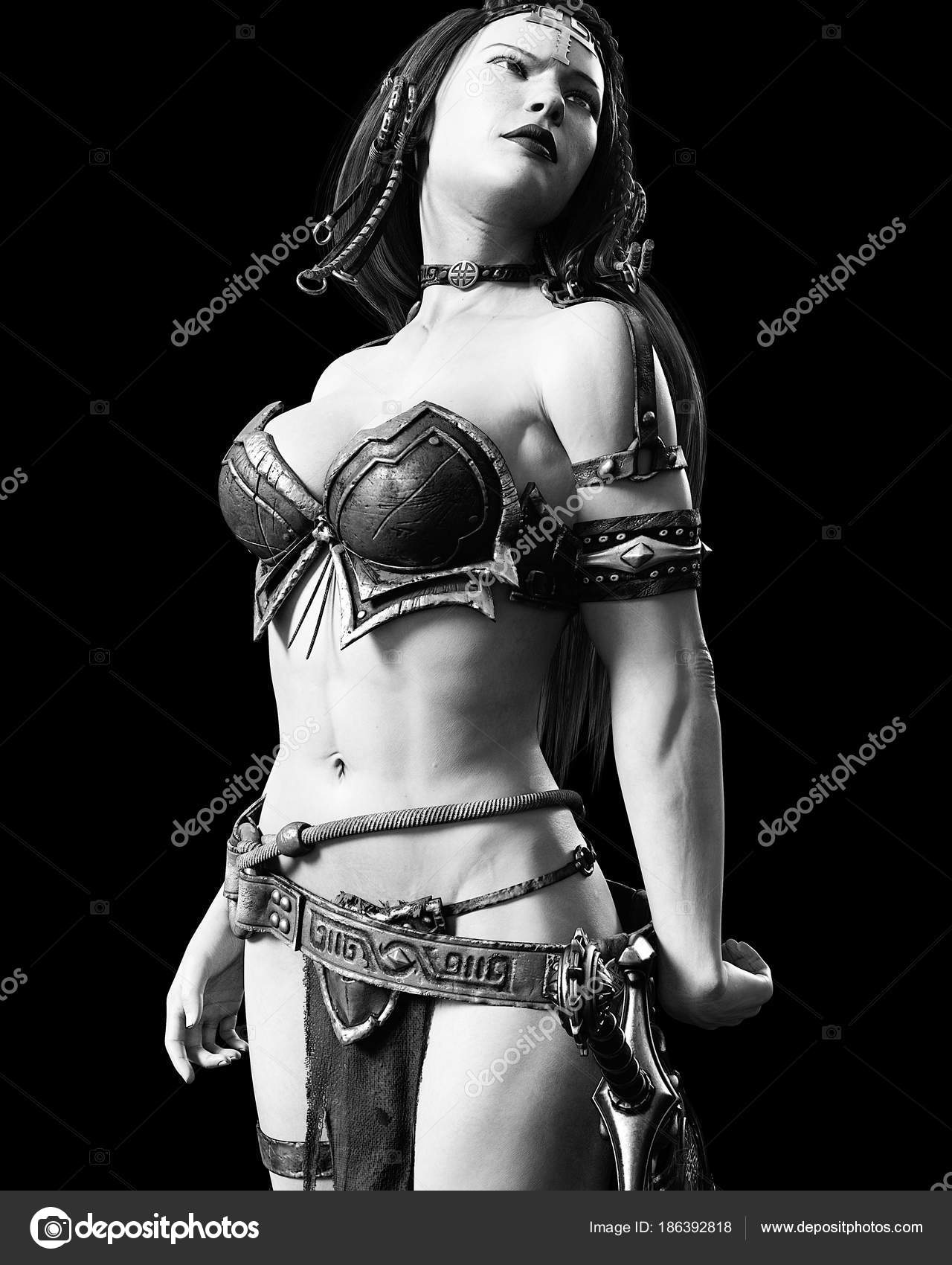 Warrior amazon woman with sword. Long dark hair.Muscular athletic body.Girl  standing candid provocative aggressive pose.Conceptual fashion art. 1926e14d3