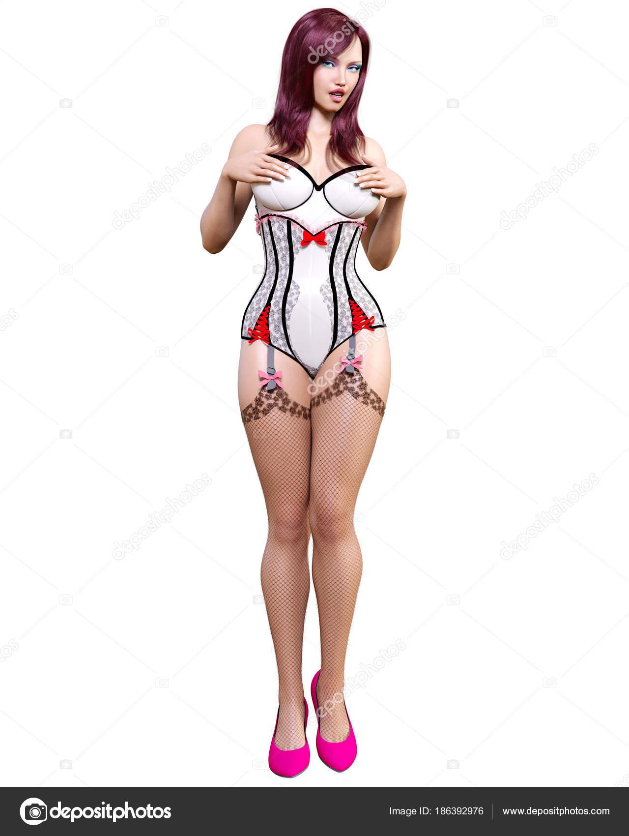 fd2066036f4 Ψηλή Γυναίκα Σέξι Λευκό Κορσέ Και Σκούρες Κάλτσες Ζαρτιέρες ...