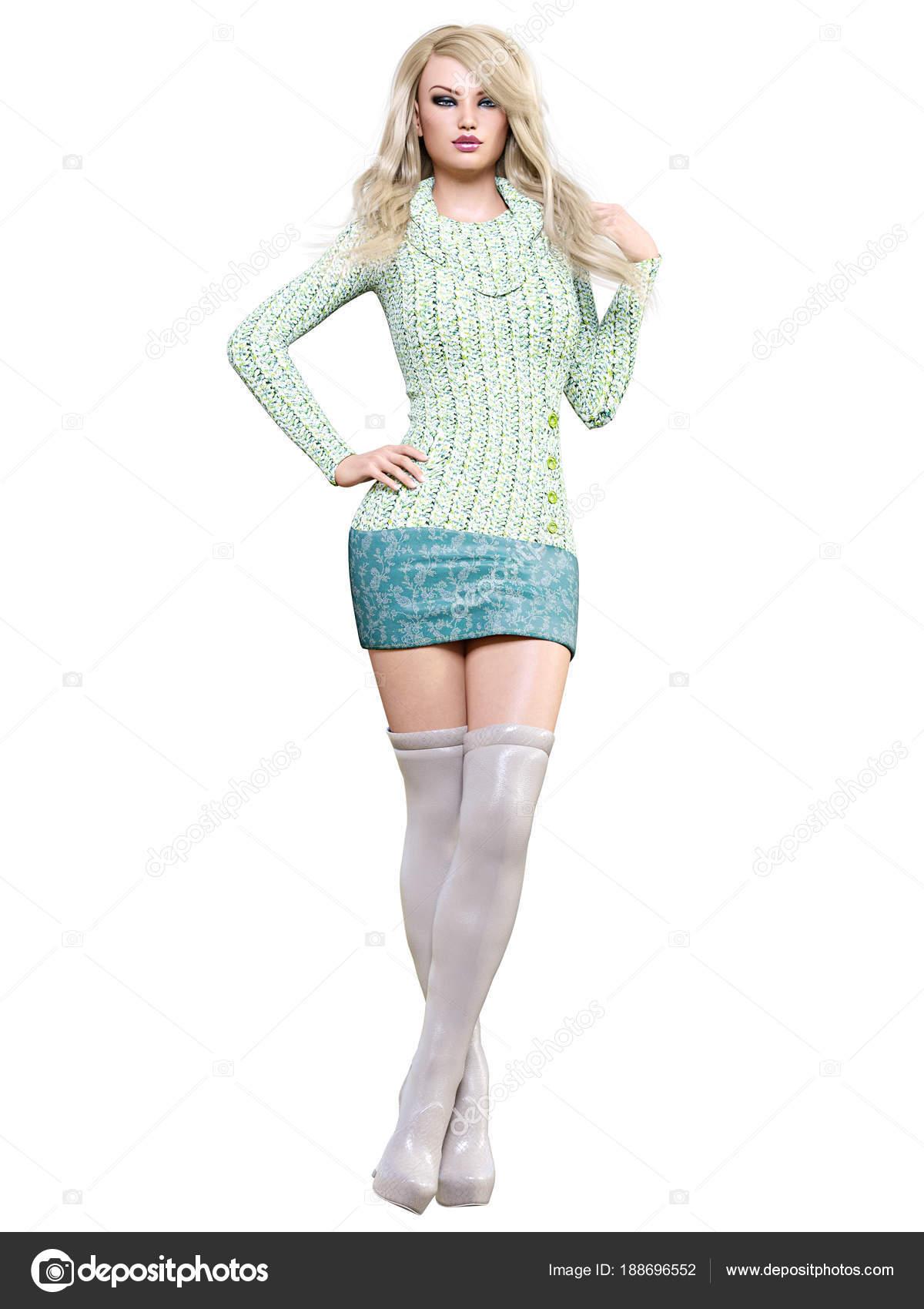 0276f936ba Rubia Hermosa Vestido Corto Botas Largos Colección Primavera Otoño  Maquillaje — Fotos de Stock