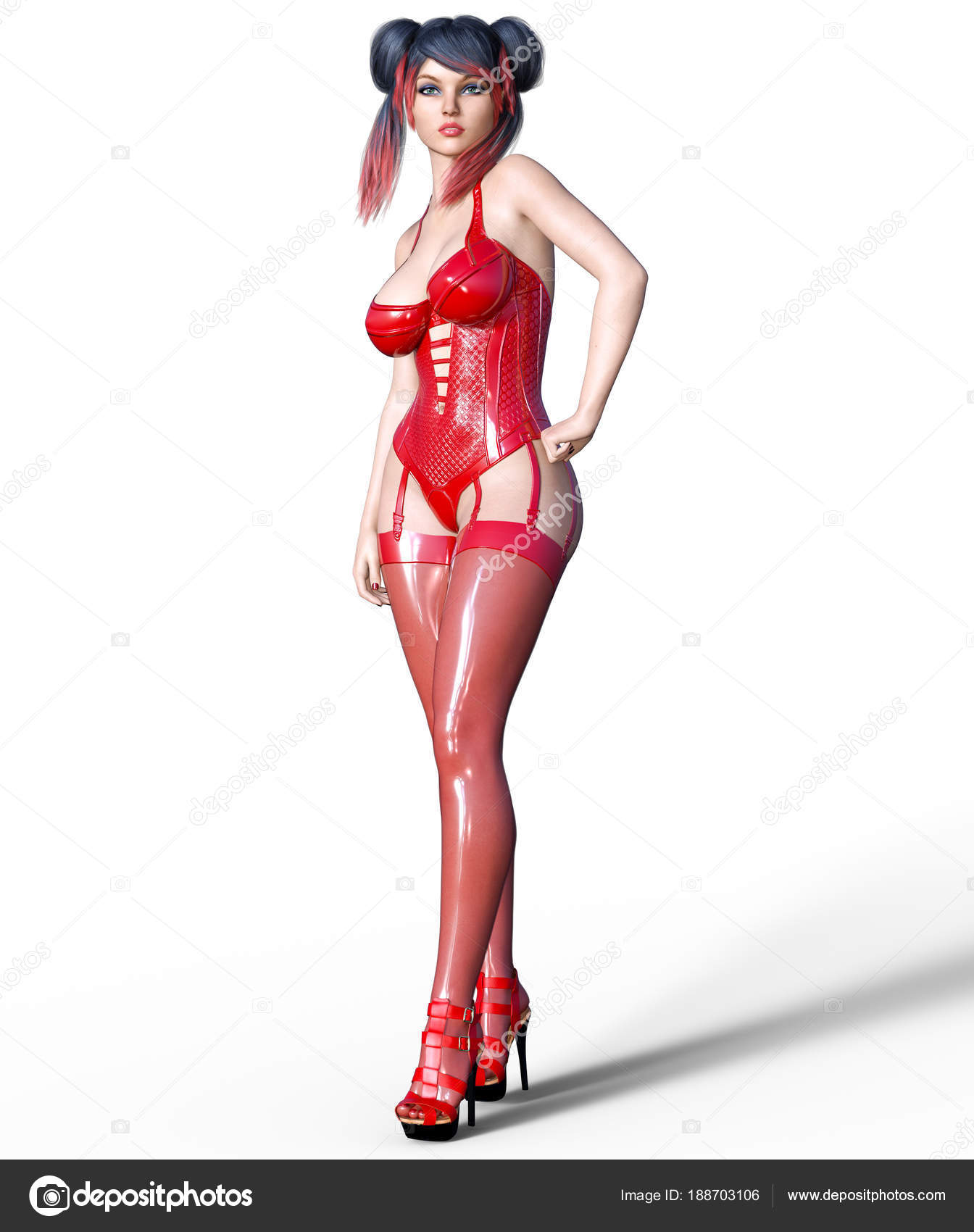 beautiful sexy brunette girl red latex corset stockings minimalist