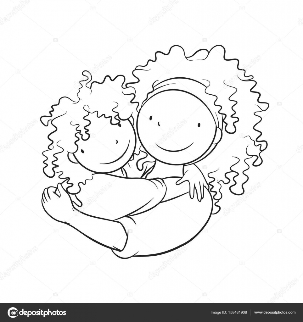 Mother Embracing Her Child Coloring Page Stock Vector C Bdnz