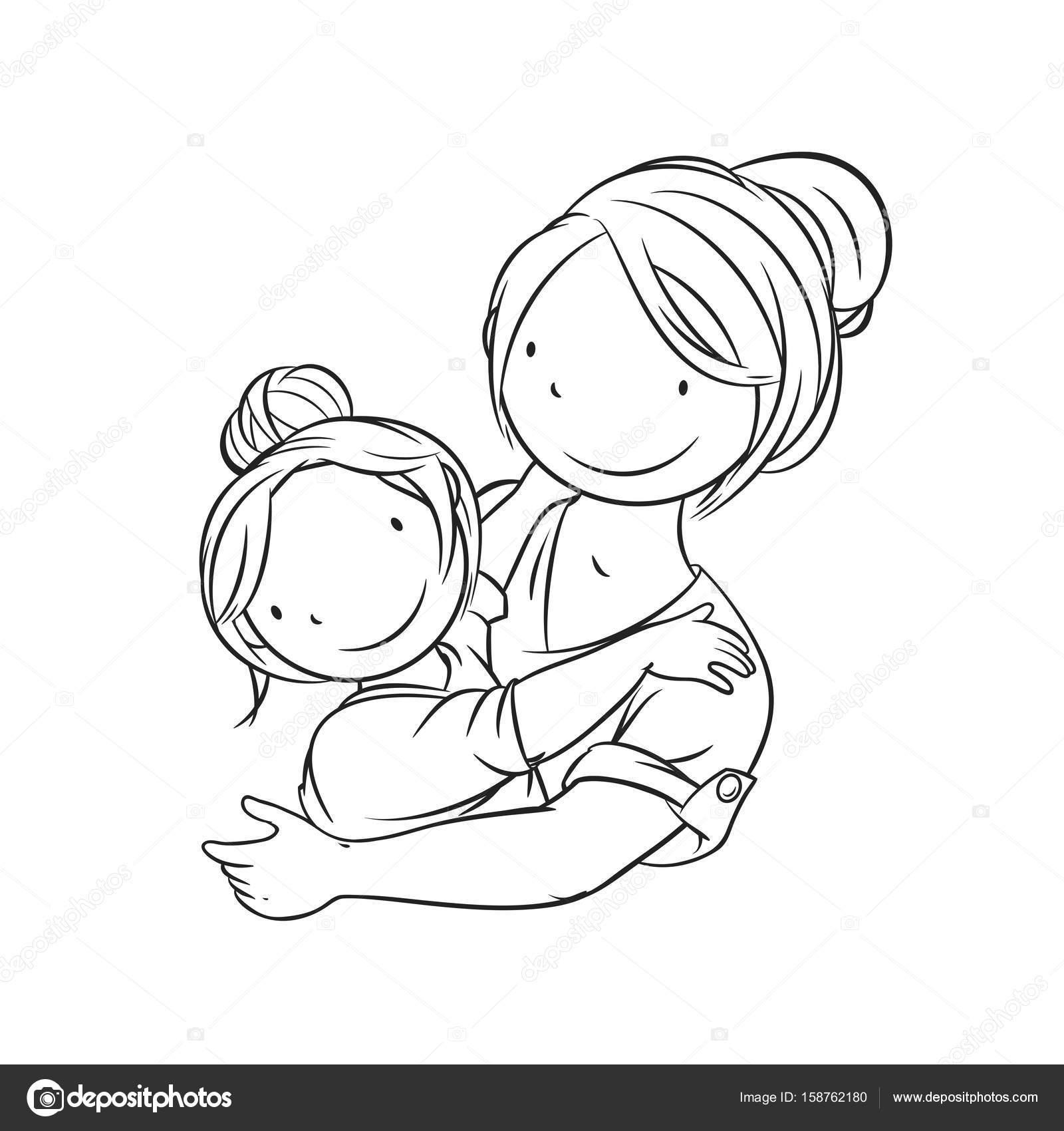 Onun çocuk Boyama Sayfası Vektör çizim Kucaklayan Anne Stok