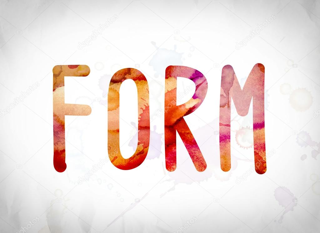 form concept watercolor word art stock photo enterlinedesign