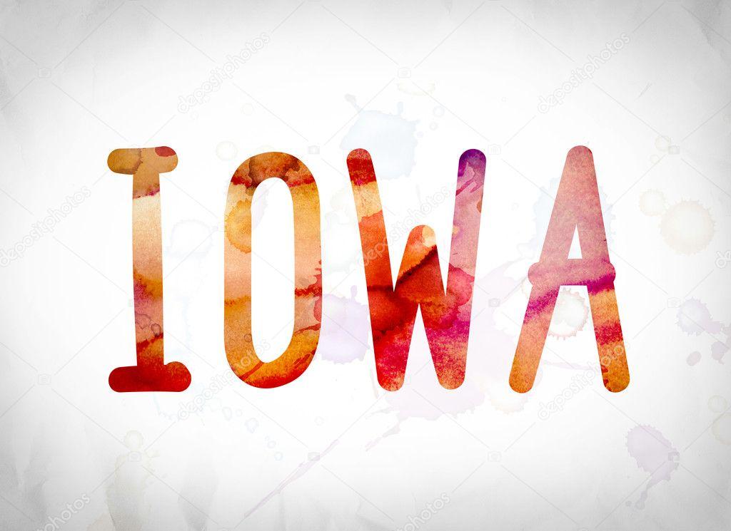 Iowa concepto palabra acuarela arte — Fotos de Stock ...