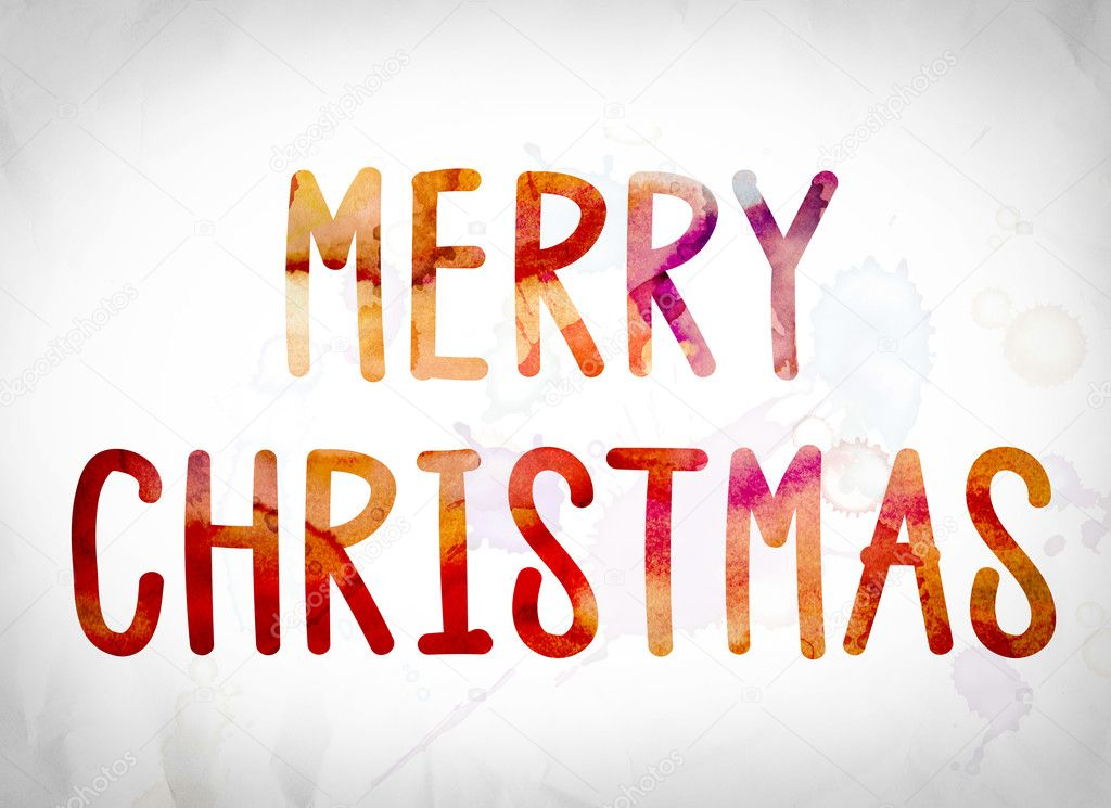 Merry Christmas Concept Watercolor Word Art Stock Photo