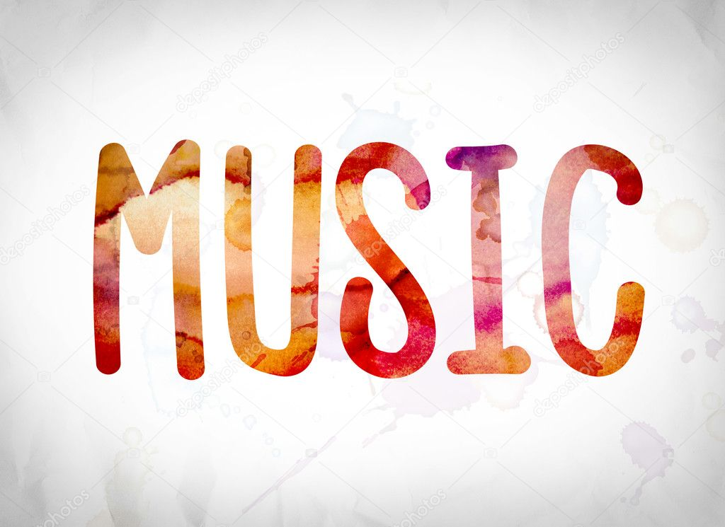 Music Concept Watercolor Word Art Stock Photo Enterlinedesign