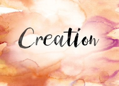 Creation Colorful Watercolor and Ink Word Art