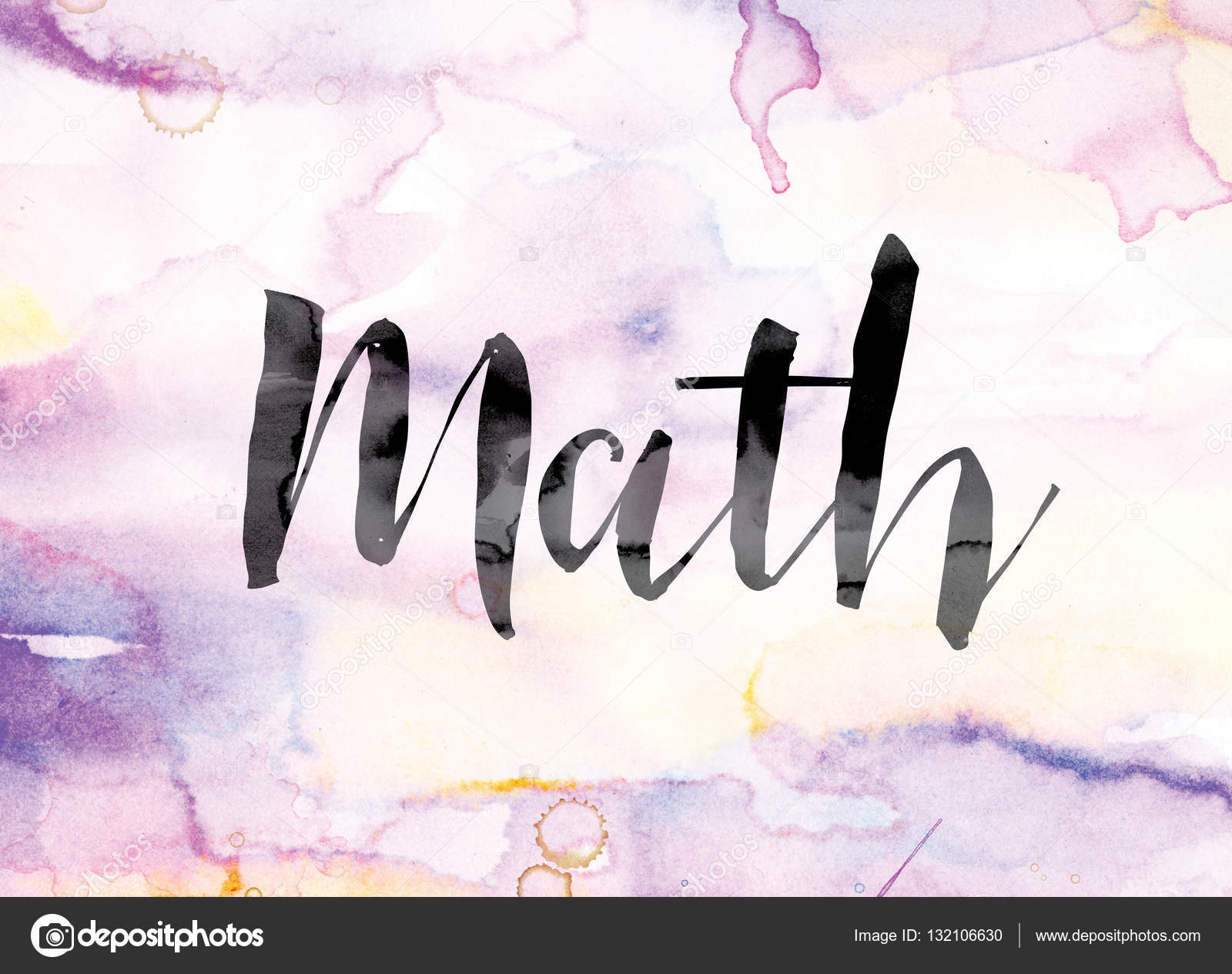 math colorful watercolor and ink word art — stock photo