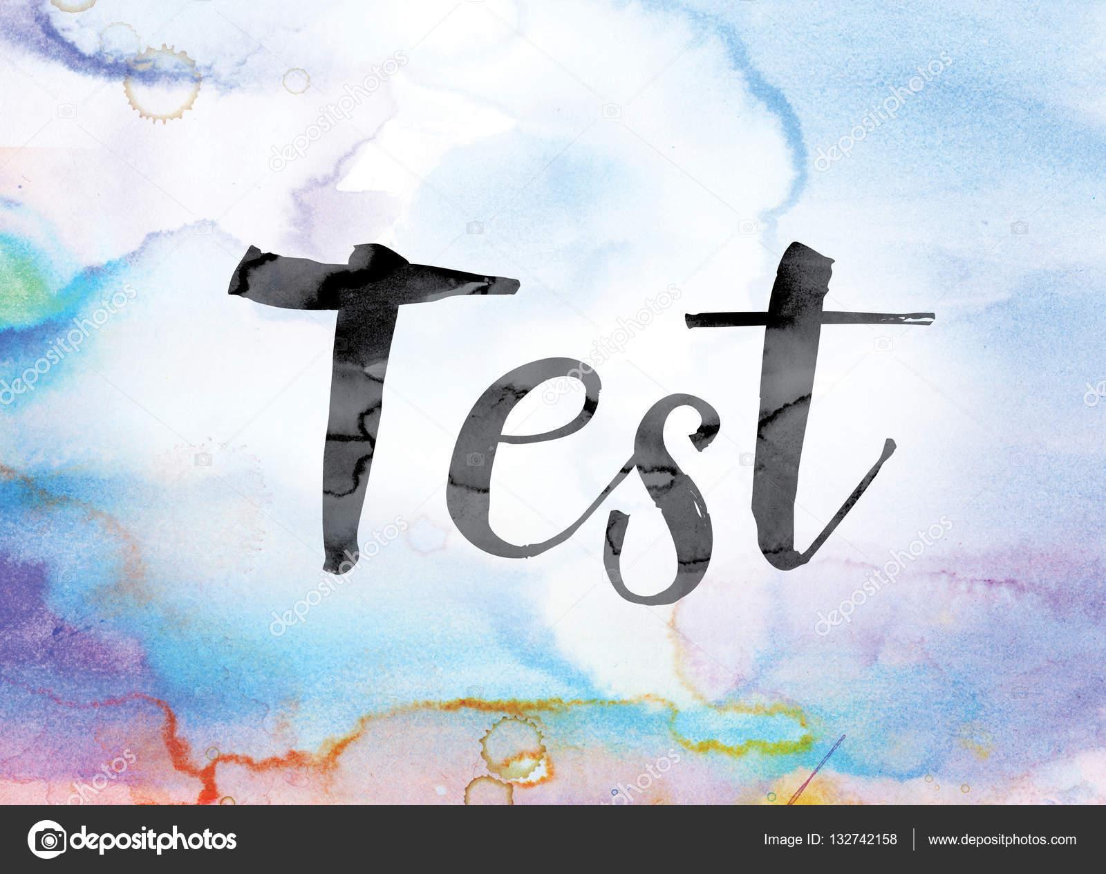 Tinta y acuarela colores prueba Word Art — Foto de stock ...