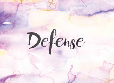The word Defense concept and theme written in black ink on a colorful painted watercolor background. stock vector