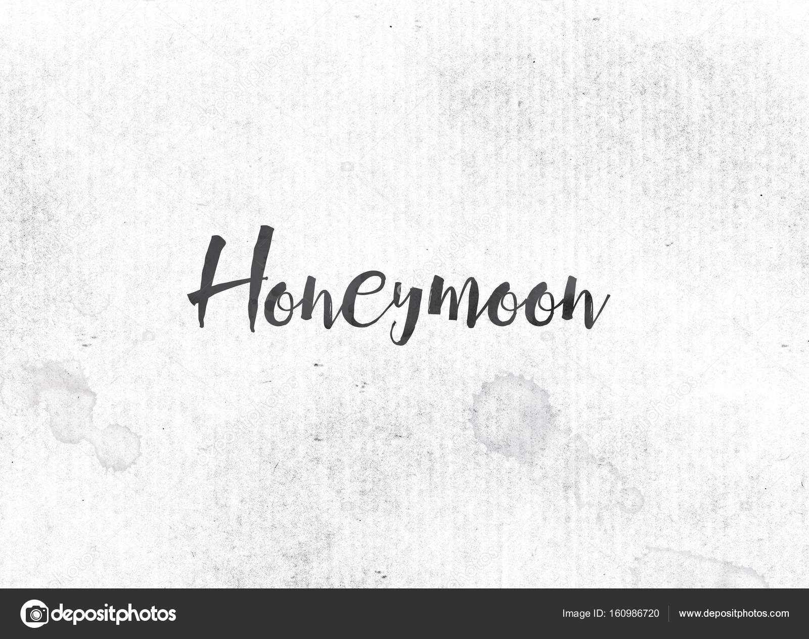The Word Honeymoon Concept And Theme Painted In Black Ink On A Watercolor Wash Background Photo By Enterlinedesign