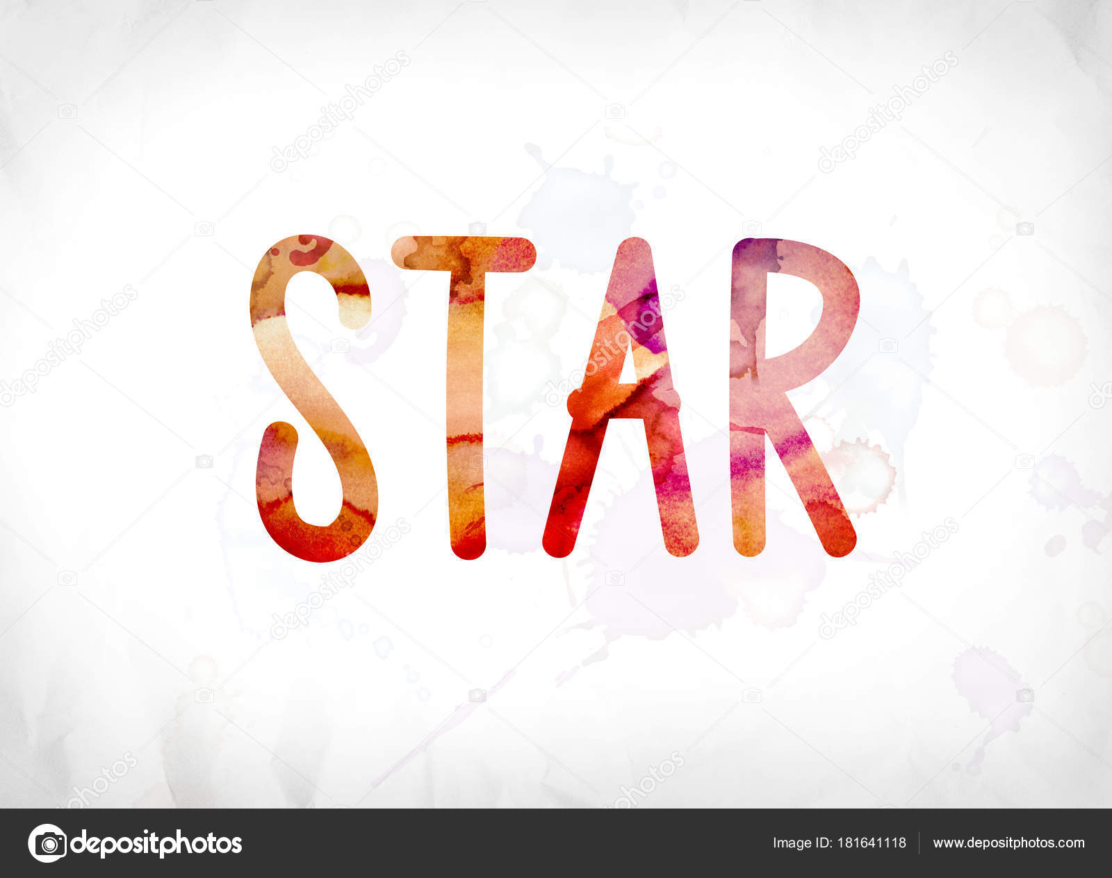 star concept painted watercolor word art stock photo