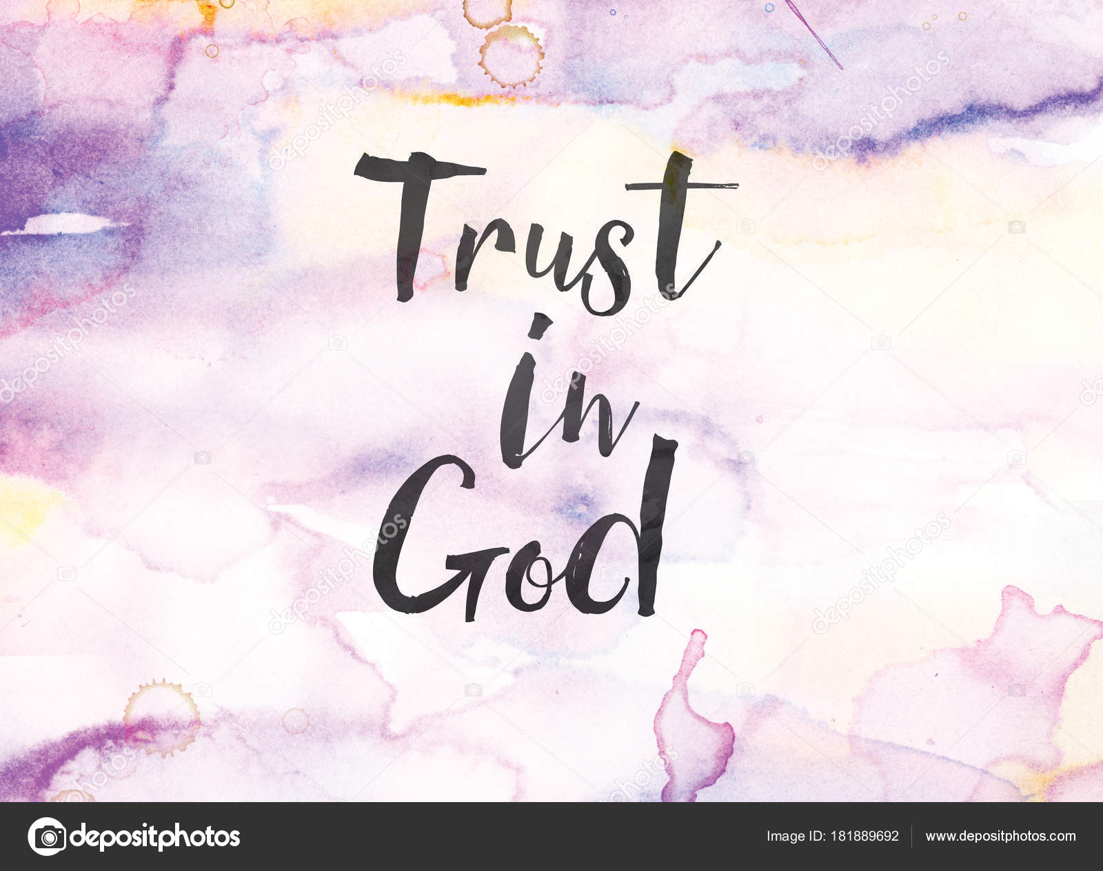 Trust In God Concept Watercolor And Ink Painting Stock Photo Image By Enterlinedesign 181889692