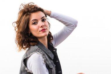 Model woman in studio