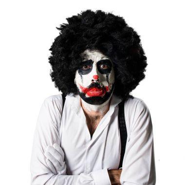 Killer clown over isolated white background