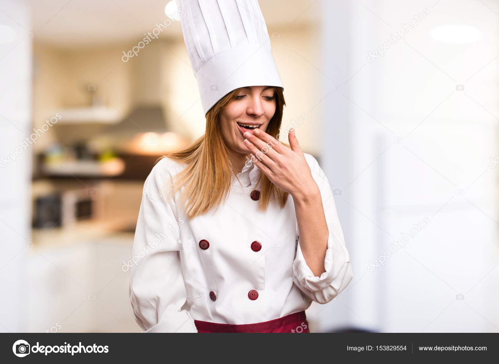 Beautiful chef woman coughing a lot in the kitchen — Stock Photo ...