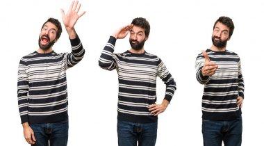 Set of Man with beard saluting