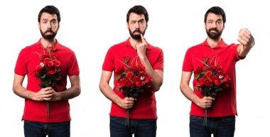 Set of Sad handsome man holding flowers