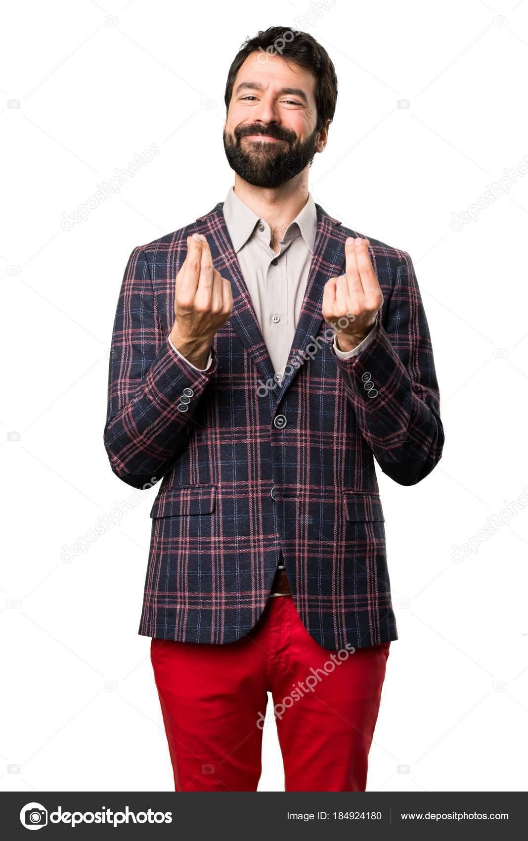 9bc76efa9b599 Hombre bien vestido que hace gesto de dinero sobre fondo blanco — Foto de  Stock