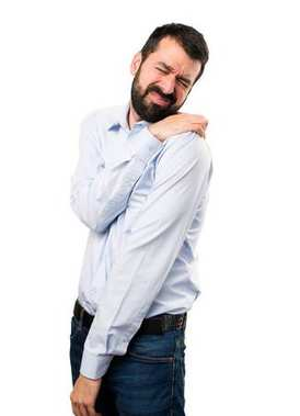 Handsome man with beard with shoulder pain
