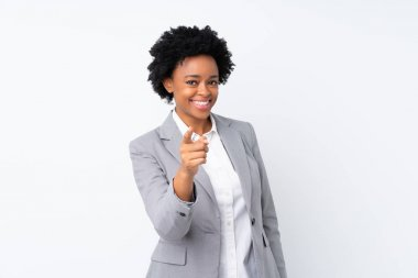 African american business woman over isolated white background points finger at you stock vector