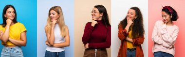Set of women over isolated colorful background looking to the side