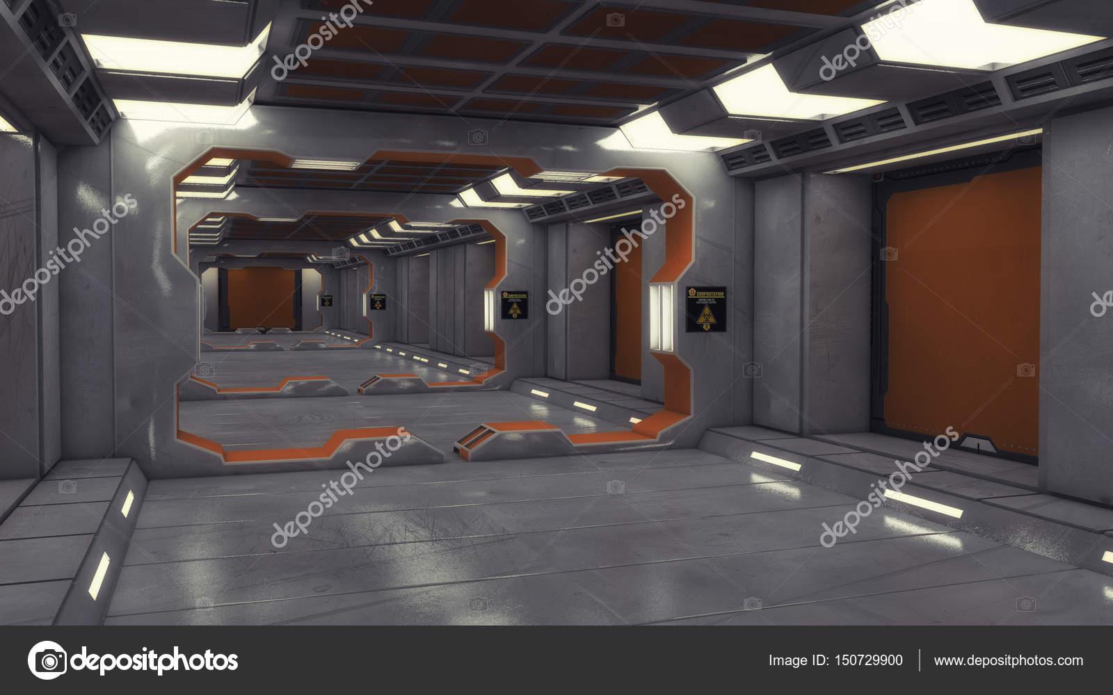 3d render fondo del pasillo interior de nave espacial for Interior nave espacial
