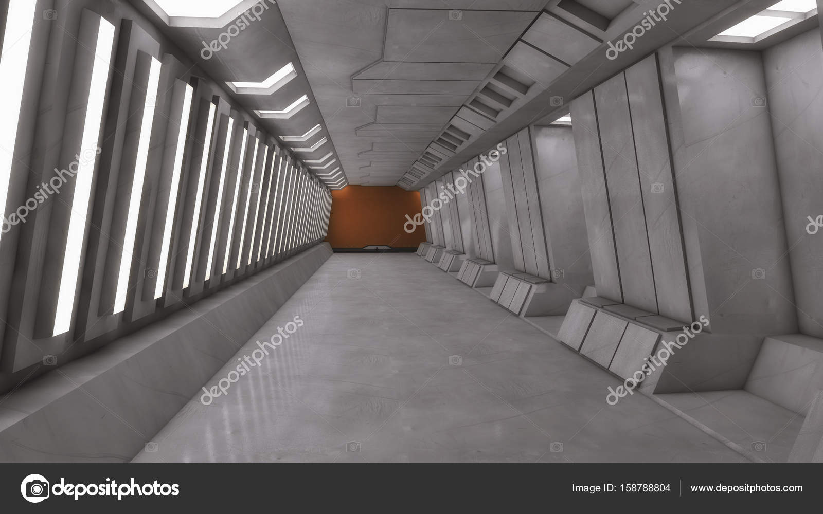 Decoratie Interieur Corridor : D render futuristische ruimteschip interieur corridor