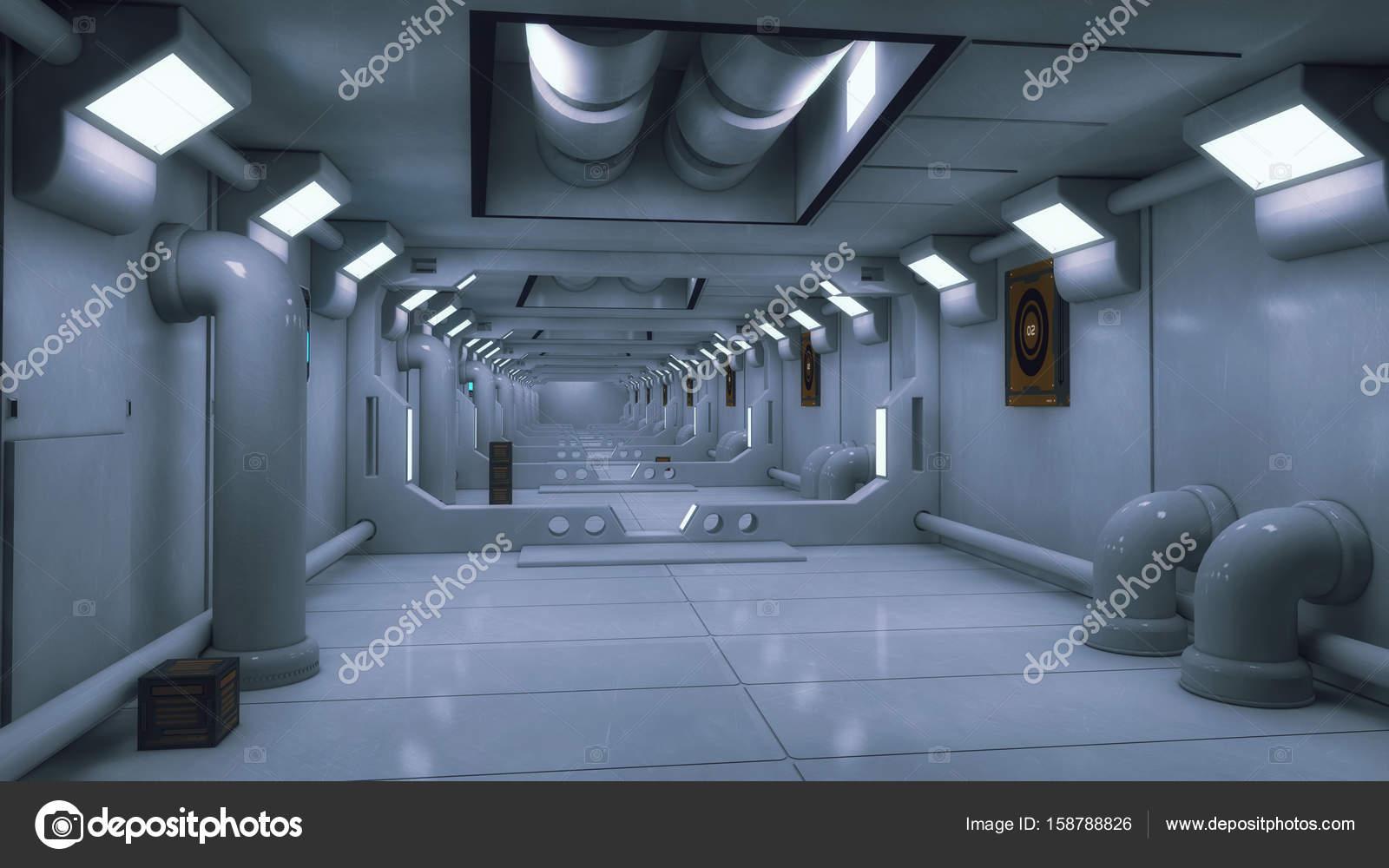rendu 3d fond de couloir int rieur de vaisseau spatial. Black Bedroom Furniture Sets. Home Design Ideas