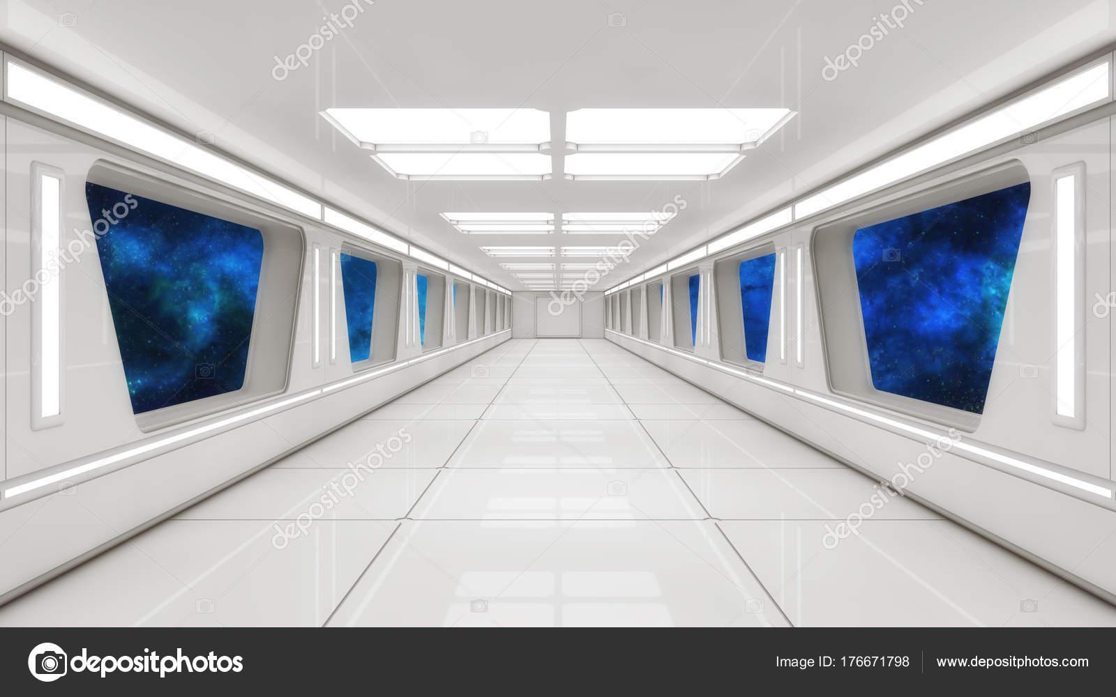 Futuristic Spaceship Interior Corridor U2014 Photo By Mik38