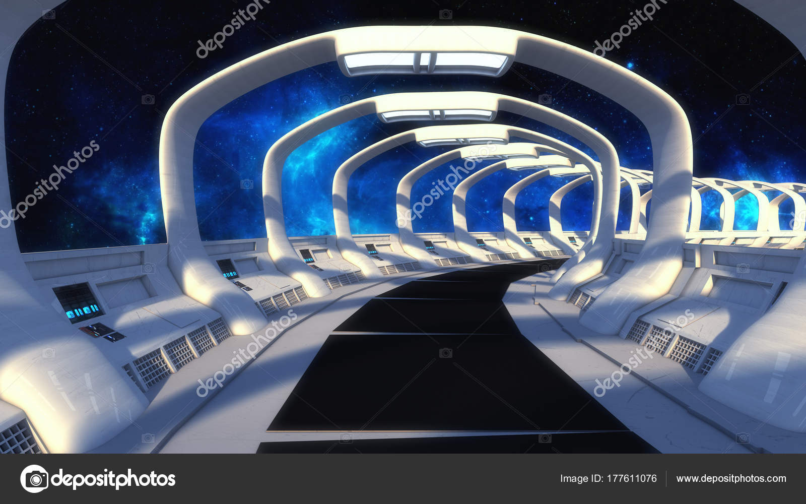 Decoratie Interieur Corridor : Rendering futuristische ruimteschip interieur corridor u stockfoto