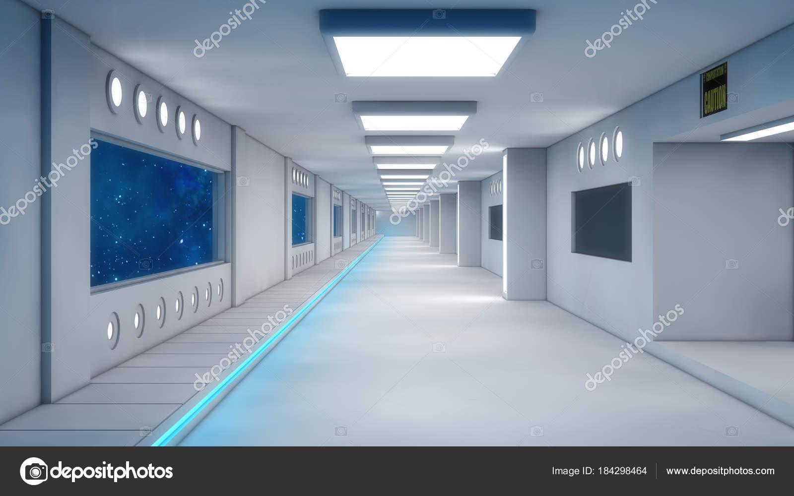 Render futuristische corridor interieur architectuur u stockfoto